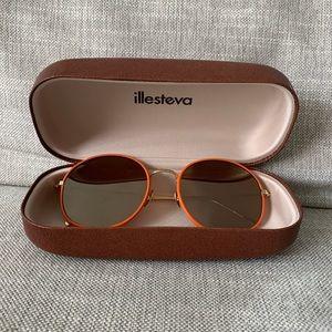 Illesteva Alina Leather 58MM Round Sunglasses NWOT